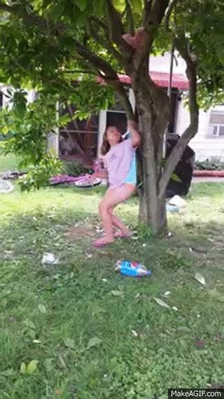 Girl gets stuck in tree with wedgie best one ever on Make