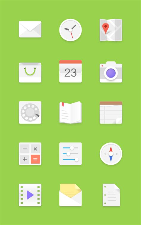 Light Android Icons Set | GraphicBurger