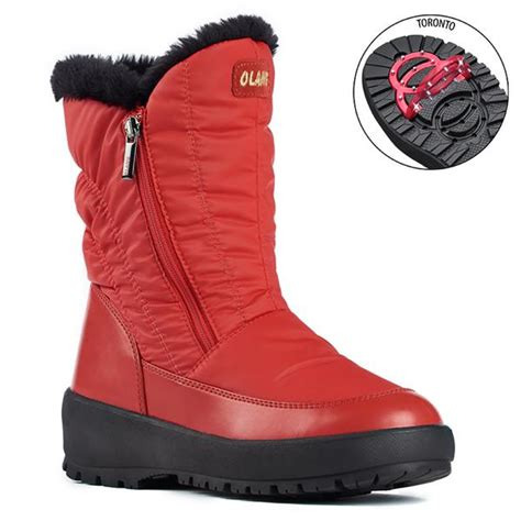 Olang MONICA ROSSO Botte hiver crampons rabattables pour
