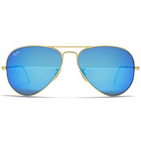Ray-Ban RB3025 Large Aviator Sunglasses Matte Gold w/Blue