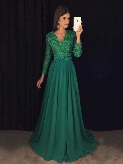Green Prom Dress With Long Sleeves, Prom Dresses