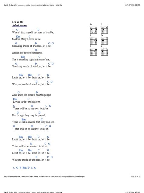 Let it Be by John Lennon - guitar chords, guitar tabs and