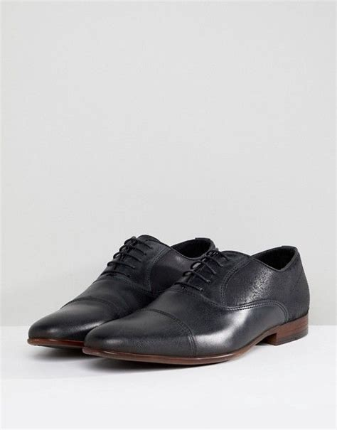 Oxford Shoes In Black Leather With Black Suede Detail at