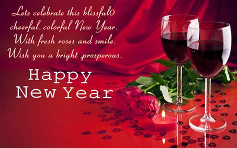 Happy New Year Glasses With Red Wine Red Rose Greeting