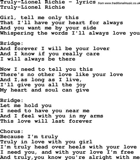 Love Song Lyrics for:Truly-Lionel Richie