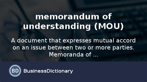 What is memorandum of understanding (MOU)? definition and