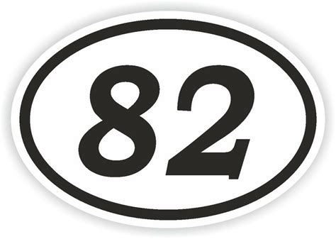 82 EIGHTY-TWO NUMBER OVAL STICKER bumper decal motocross