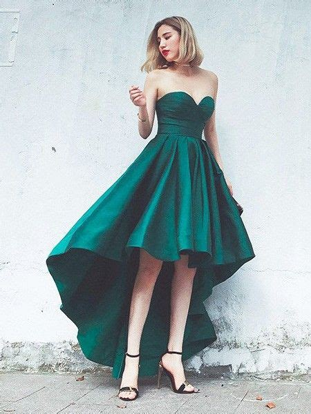 Simple Green Prom Dresses, A-line Asymmetrical Cocktail