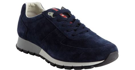 Prada Blue Suede Lace Up Sneakers in Blue for Men | Lyst