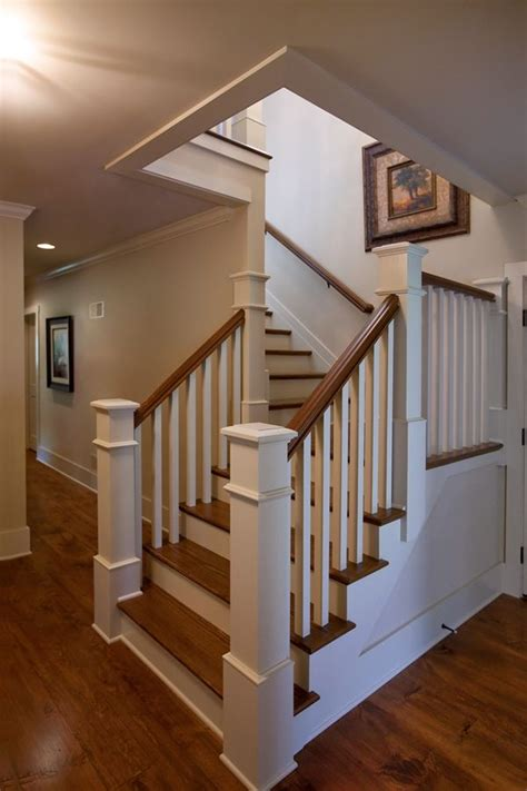 L-shaped stair with painted balusters and risers and