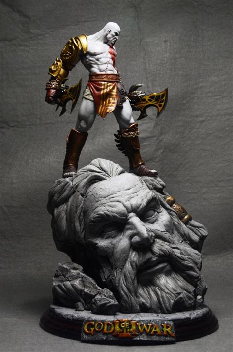 DHL/EMS 26cm GK God of War 3 Kratos on Zeus Head Resin
