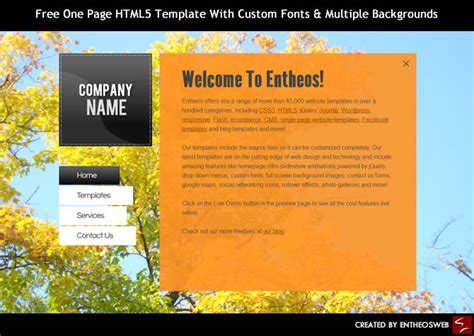 Free One Page HTML5 Template With Custom Fonts & Multiple