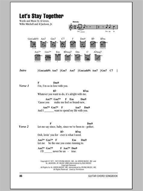 Let's Stay Together Sheet Music | Al Green | Guitar Chords
