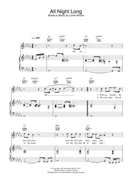 Download All Night Long Sheet Music By Lionel Richie