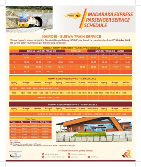 Madaraka Express Service Schedule and Prices for Nairobi