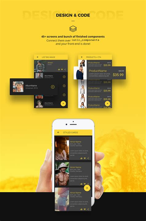 Ionic 3 UI Theme/Template App – Material Design – Yellow